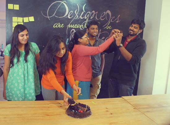 Soumya, our first designer, celebrating her birthday